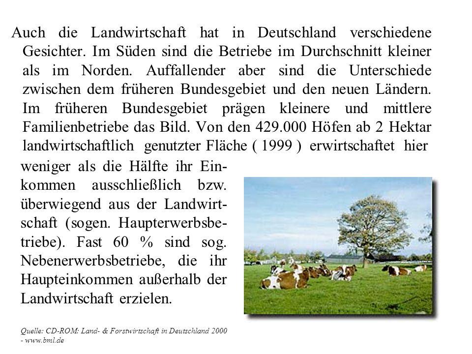 Die natürlichen Standortbedingungen für die Landwirtschaft sind in Deutschland sehr vielfältig. Vom norddeutschen Tiefland mit ausgedehnten Moor- und