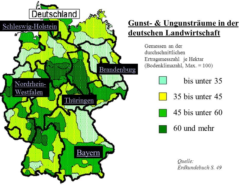 Auch die Landwirtschaft hat in Deutschland verschiedene Gesichter. Im Süden sind die Betriebe im Durchschnitt kleiner als im Norden. Auffallender aber
