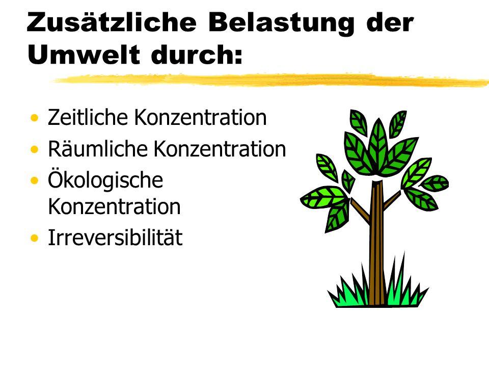 Zusätzliche Belastung der Umwelt durch: Zeitliche Konzentration Räumliche Konzentration Ökologische Konzentration Irreversibilität