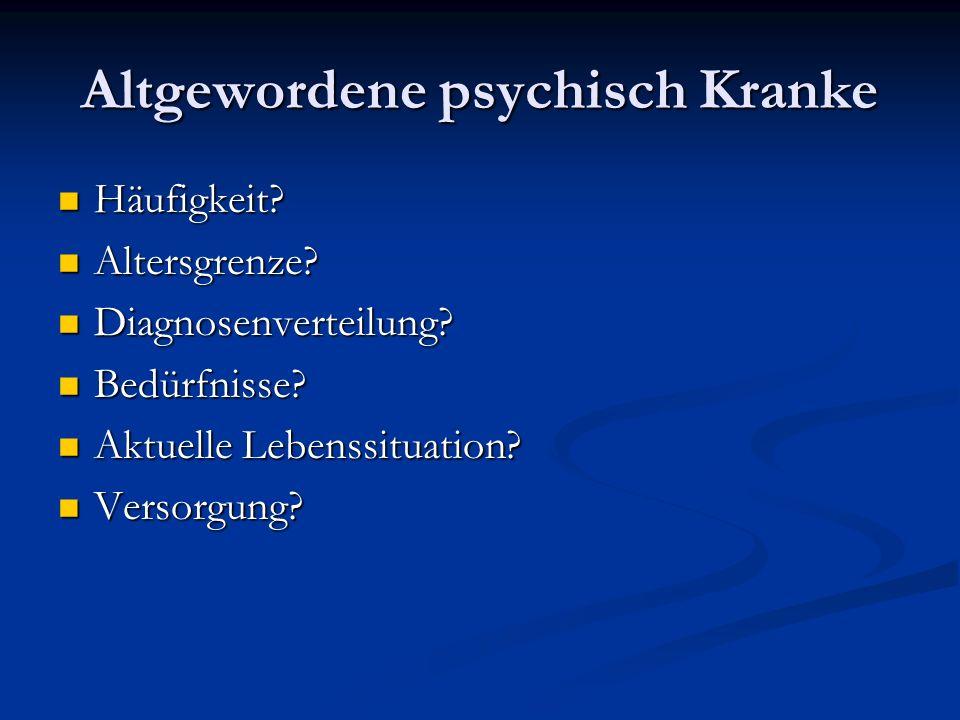 Einige Beispiele Frau G., 62 Jahre, seit 40 Jahren an paranoid- halluzinatorischer Schizophrenie erkrankt.