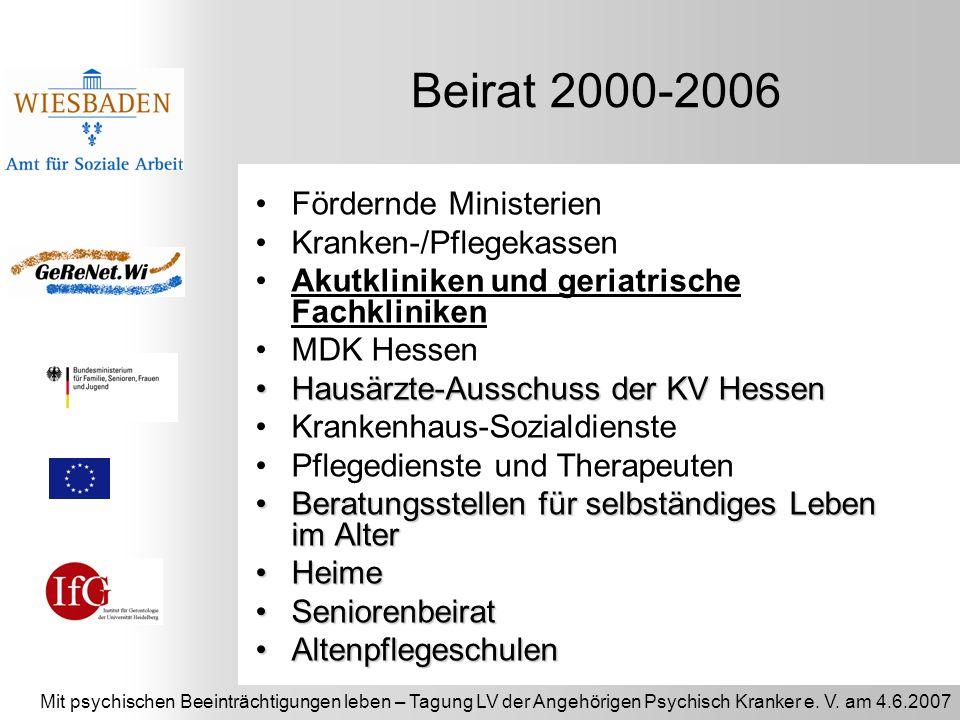 Mit psychischen Beeinträchtigungen leben – Tagung LV der Angehörigen Psychisch Kranker e. V. am 4.6.2007 Beirat 2000-2006 Fördernde Ministerien Kranke