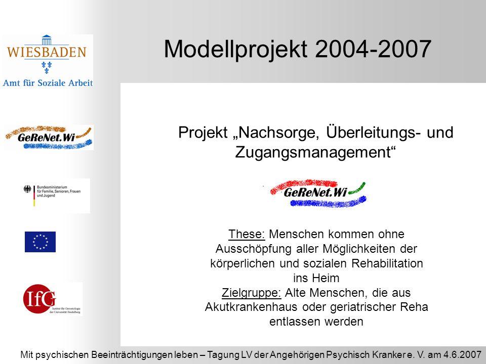 Mit psychischen Beeinträchtigungen leben – Tagung LV der Angehörigen Psychisch Kranker e. V. am 4.6.2007 Modellprojekt 2004-2007 Projekt Nachsorge, Üb