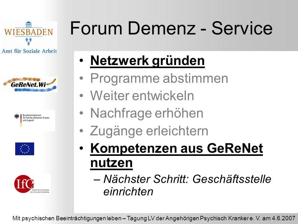 Mit psychischen Beeinträchtigungen leben – Tagung LV der Angehörigen Psychisch Kranker e. V. am 4.6.2007 Forum Demenz - Service Netzwerk gründen Progr