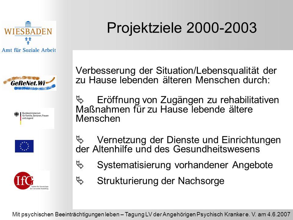 Mit psychischen Beeinträchtigungen leben – Tagung LV der Angehörigen Psychisch Kranker e. V. am 4.6.2007 Projektziele 2000-2003 Verbesserung der Situa