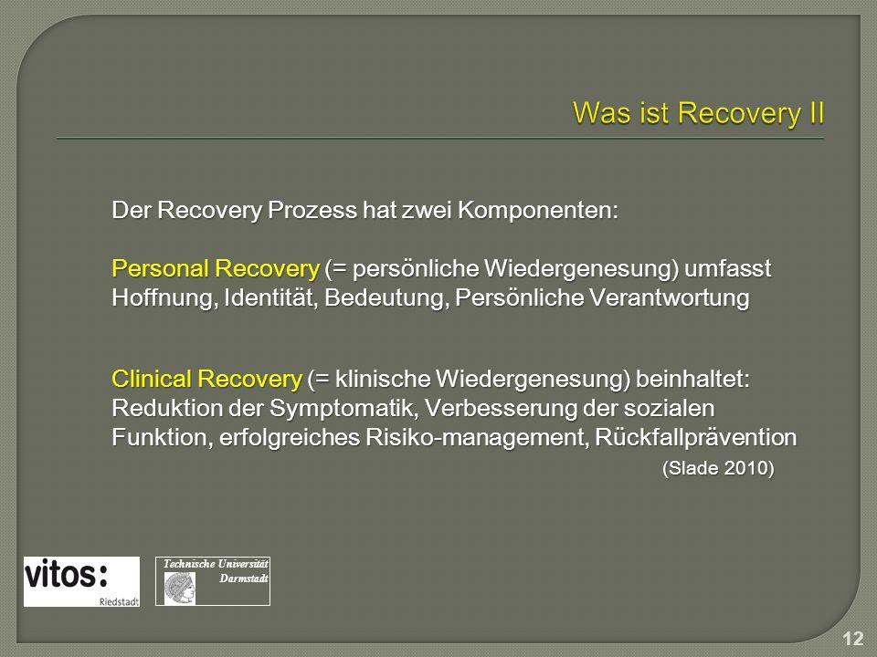 Der Recovery Prozess hat zwei Komponenten: Personal Recovery (= persönliche Wiedergenesung) umfasst Hoffnung, Identität, Bedeutung, Persönliche Verant