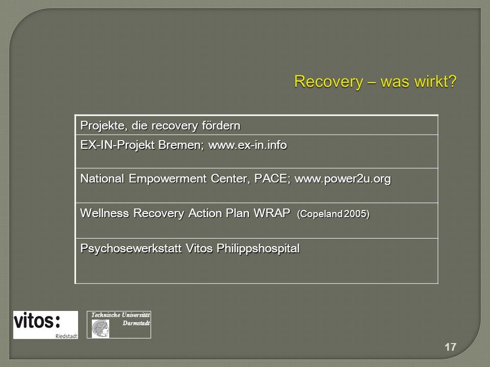 Projekte, die recovery fördern EX-IN-Projekt Bremen; www.ex-in.info National Empowerment Center, PACE; www.power2u.org Wellness Recovery Action Plan W