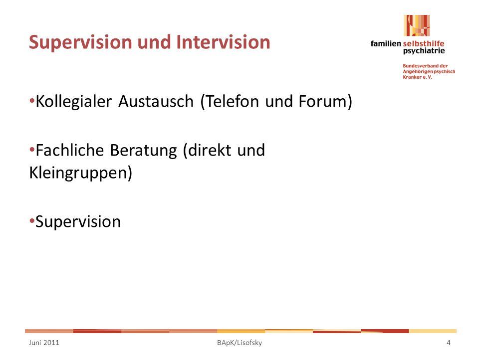 Supervision und Intervision Kollegialer Austausch (Telefon und Forum) Fachliche Beratung (direkt und Kleingruppen) Supervision Juni 20114BApK/Lisofsky