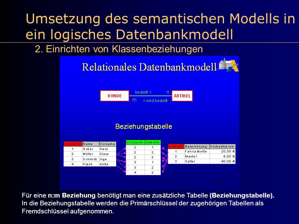 Umsetzung des semantischen Modells in ein logisches Datenbankmodell 2. Einrichten von Klassenbeziehungen Für eine n:m Beziehung benötigt man eine zusä
