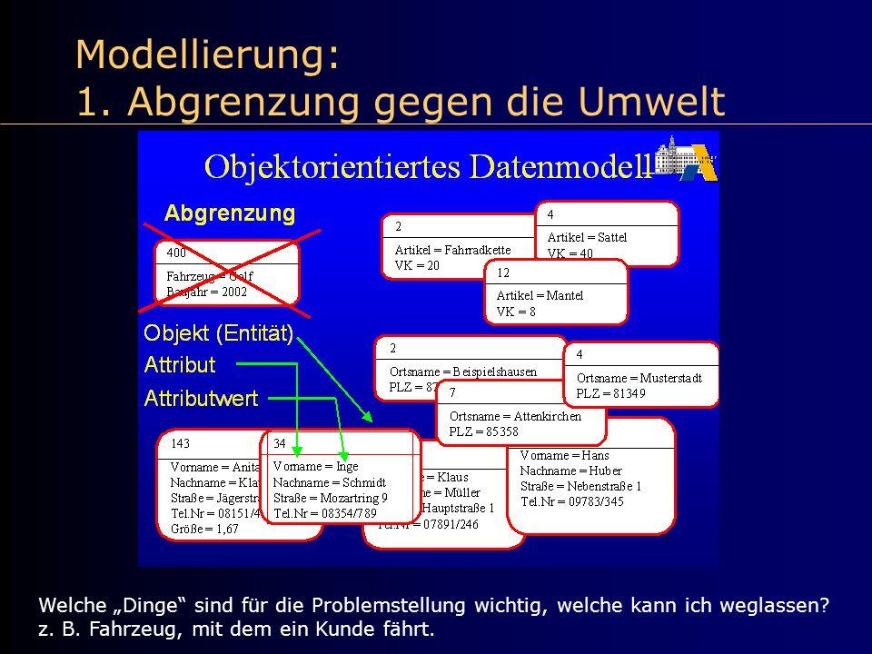 Modellierung: 1. Abgrenzung gegen die Umwelt Welche Dinge sind für die Problemstellung wichtig, welche kann ich weglassen? z. B. Fahrzeug, mit dem ein