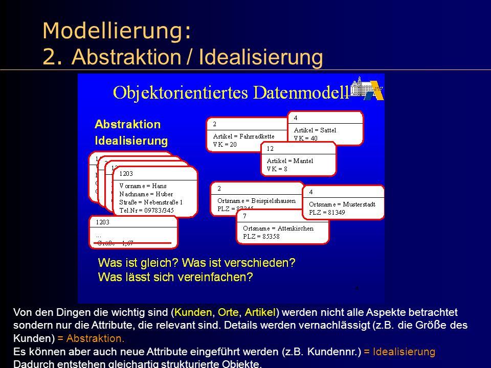 Modellierung: 2. Abstraktion / Idealisierung Von den Dingen die wichtig sind (Kunden, Orte, Artikel) werden nicht alle Aspekte betrachtet sondern nur