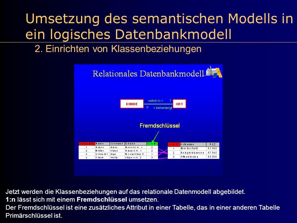 Umsetzung des semantischen Modells in ein logisches Datenbankmodell 2. Einrichten von Klassenbeziehungen Jetzt werden die Klassenbeziehungen auf das r