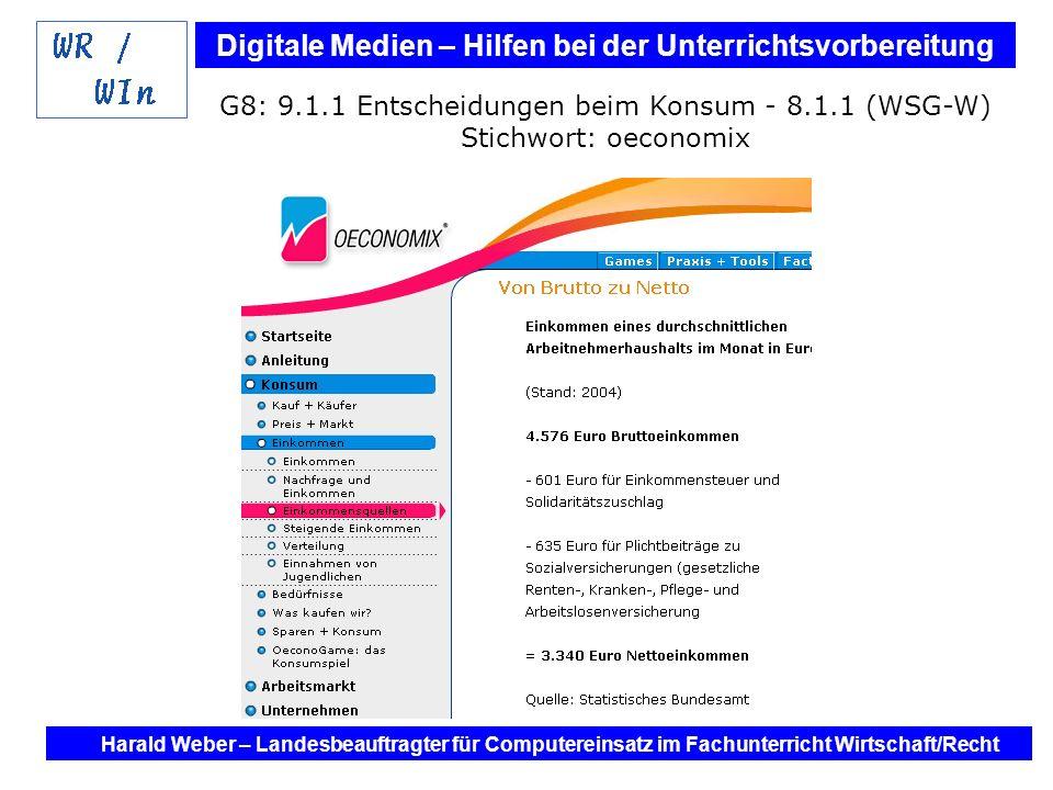 Digitale Medien – Hilfen bei der Unterrichtsvorbereitung Internet und Software - Hilfen bei der Unterrichtsvorbereitung im Fach Wirtschaft / Recht Harald Weber – Landesbeauftragter für Computereinsatz im Fachunterricht Wirtschaft/Recht G9: Kollegstufe Stichwort: BDSG