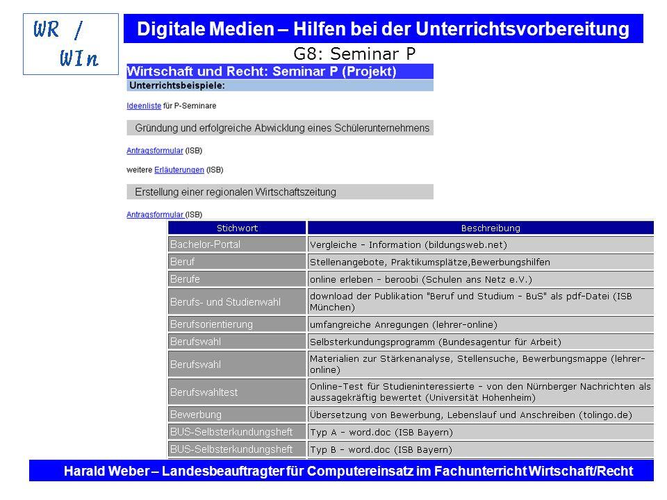 Digitale Medien – Hilfen bei der Unterrichtsvorbereitung Internet und Software - Hilfen bei der Unterrichtsvorbereitung im Fach Wirtschaft / Recht Harald Weber – Landesbeauftragter für Computereinsatz im Fachunterricht Wirtschaft/Recht G8: Seminar P