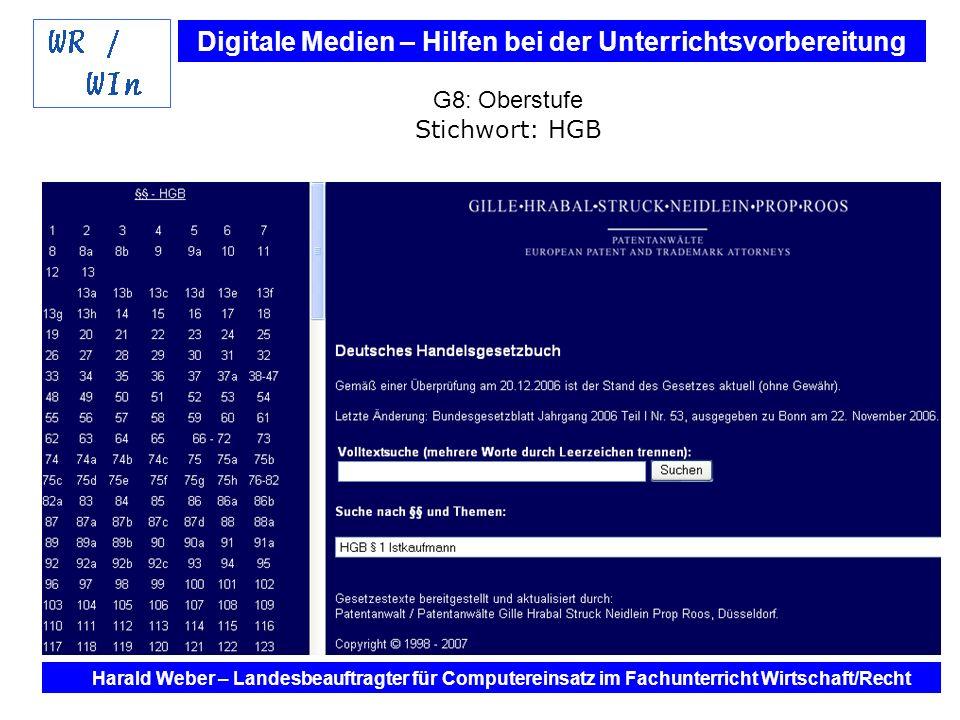 Digitale Medien – Hilfen bei der Unterrichtsvorbereitung Internet und Software - Hilfen bei der Unterrichtsvorbereitung im Fach Wirtschaft / Recht Harald Weber – Landesbeauftragter für Computereinsatz im Fachunterricht Wirtschaft/Recht G8: Oberstufe Stichwort: HGB