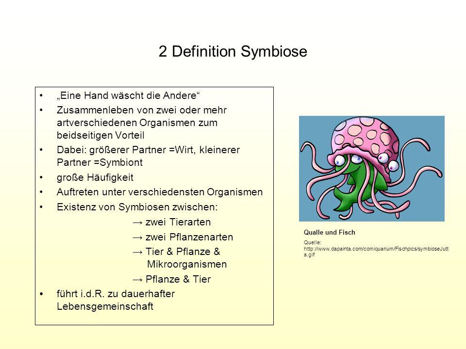 2 Definition Symbiose Eine Hand wäscht die Andere Zusammenleben von zwei oder mehr artverschiedenen Organismen zum beidseitigen Vorteil Dabei: größere
