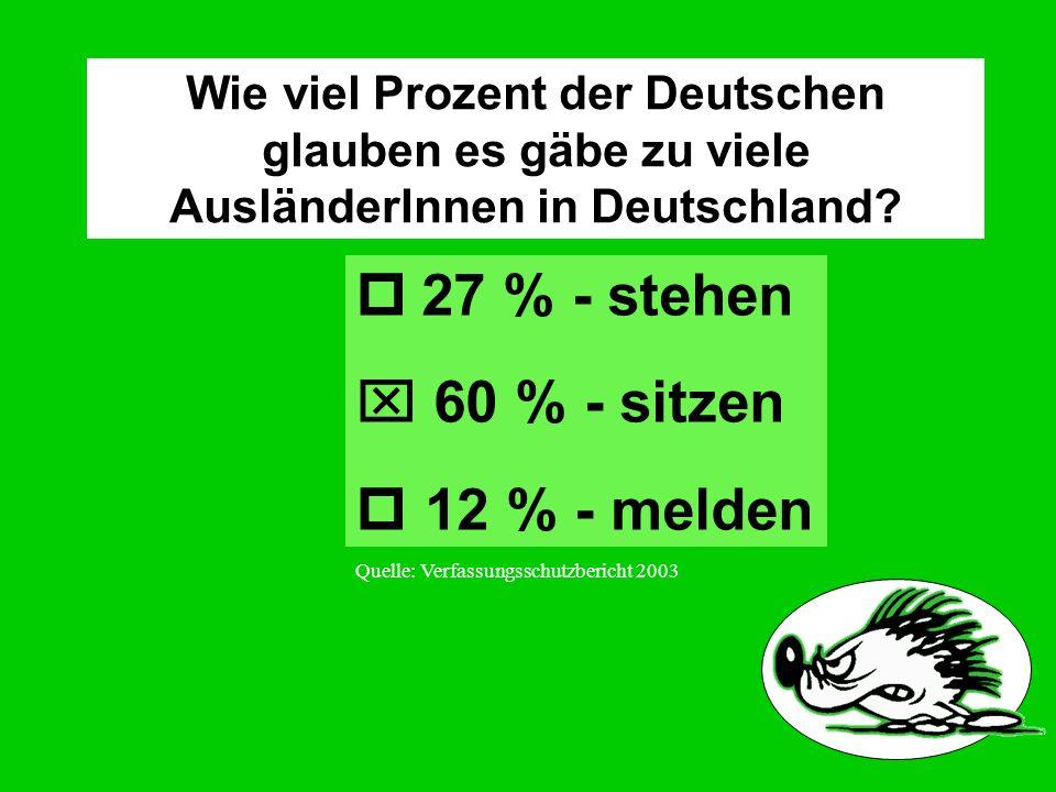 Wie viel Prozent der Deutschen glauben es gäbe zu viele AusländerInnen in Deutschland.
