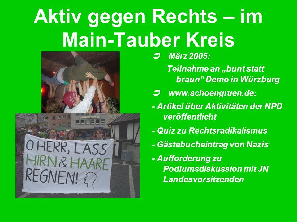 Aktiv gegen Rechts – im Main-Tauber Kreis März 2005: Teilnahme an bunt statt braun Demo in Würzburg www.schoengruen.de: - Artikel über Aktivitäten der NPD veröffentlicht - Quiz zu Rechtsradikalismus - Gästebucheintrag von Nazis - Aufforderung zu Podiumsdiskussion mit JN Landesvorsitzenden