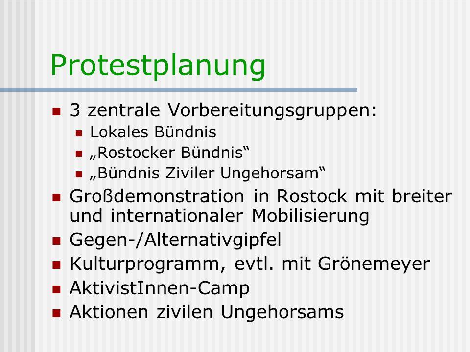 Protestplanung 3 zentrale Vorbereitungsgruppen: Lokales Bündnis Rostocker Bündnis Bündnis Ziviler Ungehorsam Großdemonstration in Rostock mit breiter
