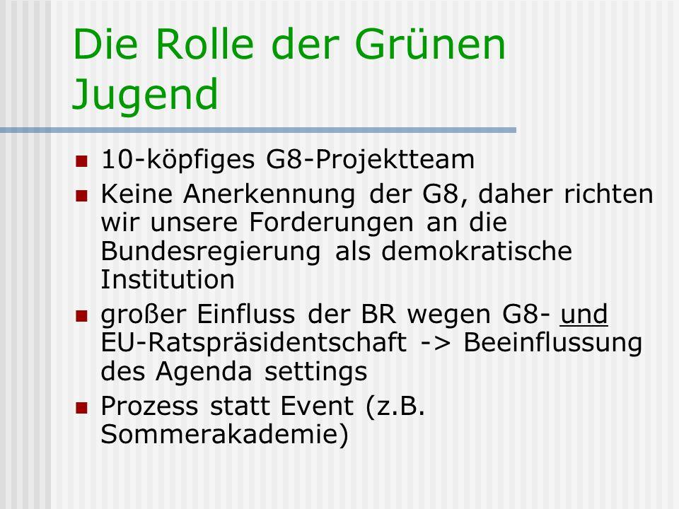 10-köpfiges G8-Projektteam Keine Anerkennung der G8, daher richten wir unsere Forderungen an die Bundesregierung als demokratische Institution großer