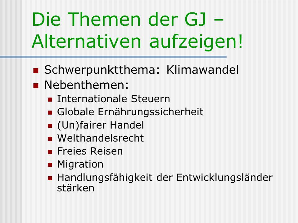 Die Themen der GJ – Alternativen aufzeigen! Schwerpunktthema: Klimawandel Nebenthemen: Internationale Steuern Globale Ernährungssicherheit (Un)fairer