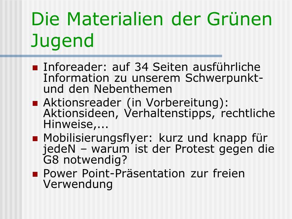 Die Materialien der Grünen Jugend Inforeader: auf 34 Seiten ausführliche Information zu unserem Schwerpunkt- und den Nebenthemen Aktionsreader (in Vor