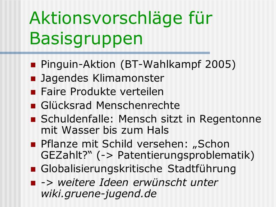 Aktionsvorschläge für Basisgruppen Pinguin-Aktion (BT-Wahlkampf 2005) Jagendes Klimamonster Faire Produkte verteilen Glücksrad Menschenrechte Schulden