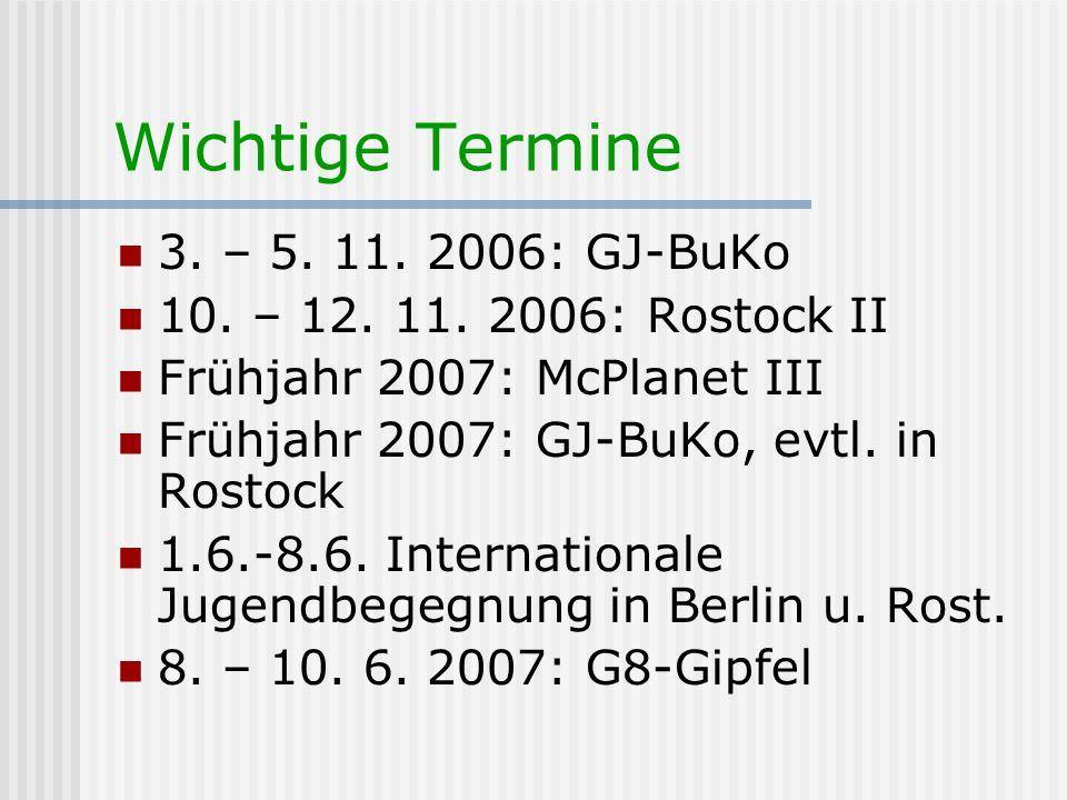 Wichtige Termine 3. – 5. 11. 2006: GJ-BuKo 10. – 12. 11. 2006: Rostock II Frühjahr 2007: McPlanet III Frühjahr 2007: GJ-BuKo, evtl. in Rostock 1.6.-8.