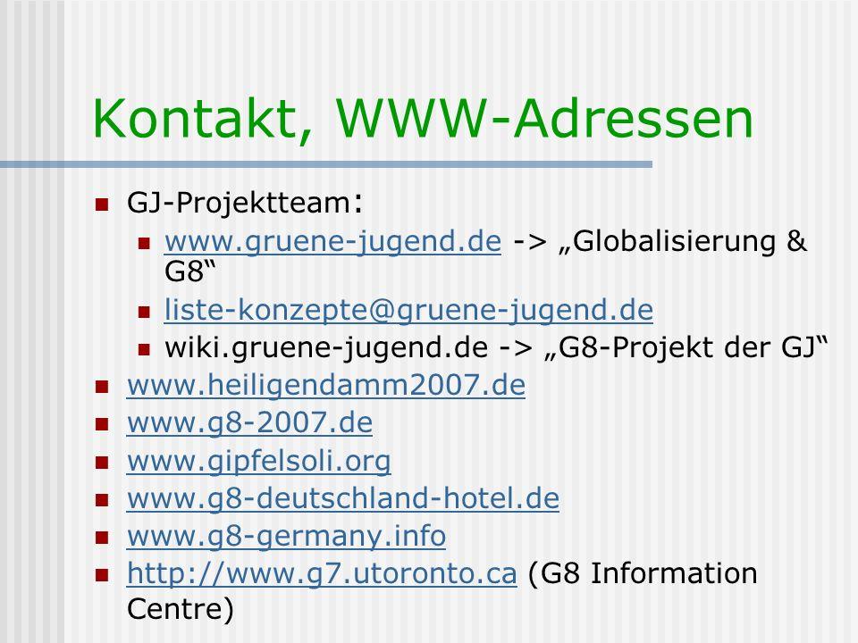 Kontakt, WWW-Adressen GJ-Projektteam : www.gruene-jugend.de -> Globalisierung & G8 www.gruene-jugend.de liste-konzepte@gruene-jugend.de wiki.gruene-ju