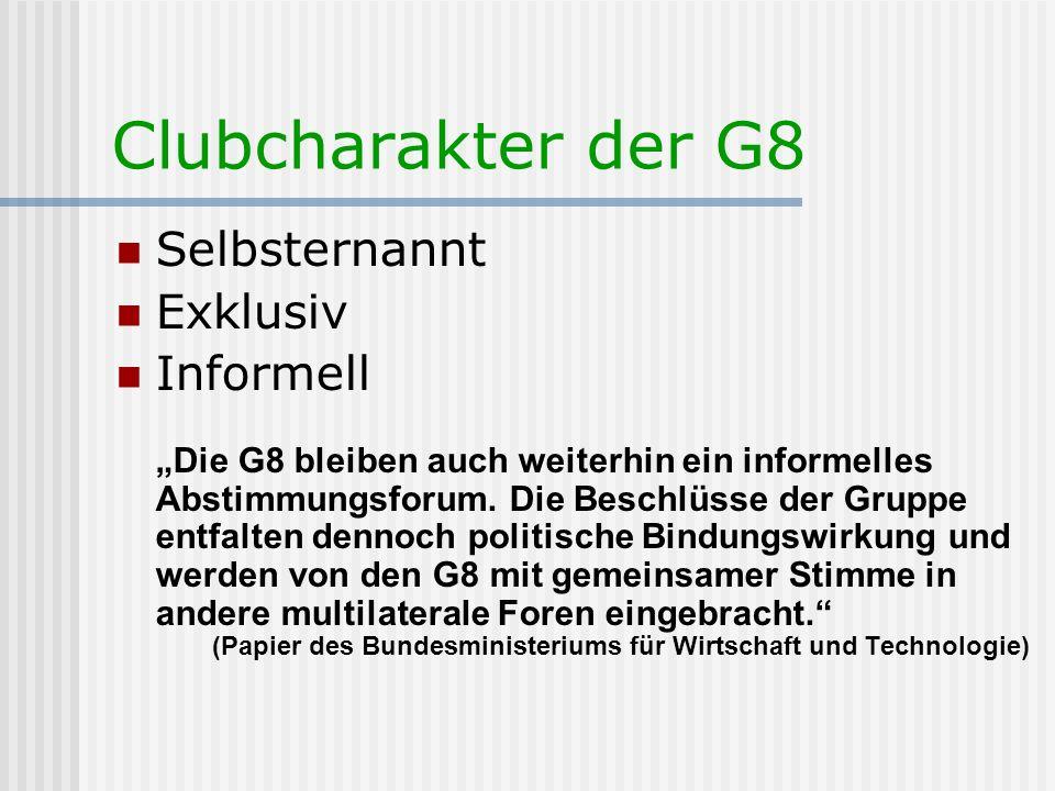 Clubcharakter der G8 Selbsternannt Exklusiv Informell Die G8 bleiben auch weiterhin ein informelles Abstimmungsforum. Die Beschlüsse der Gruppe entfal