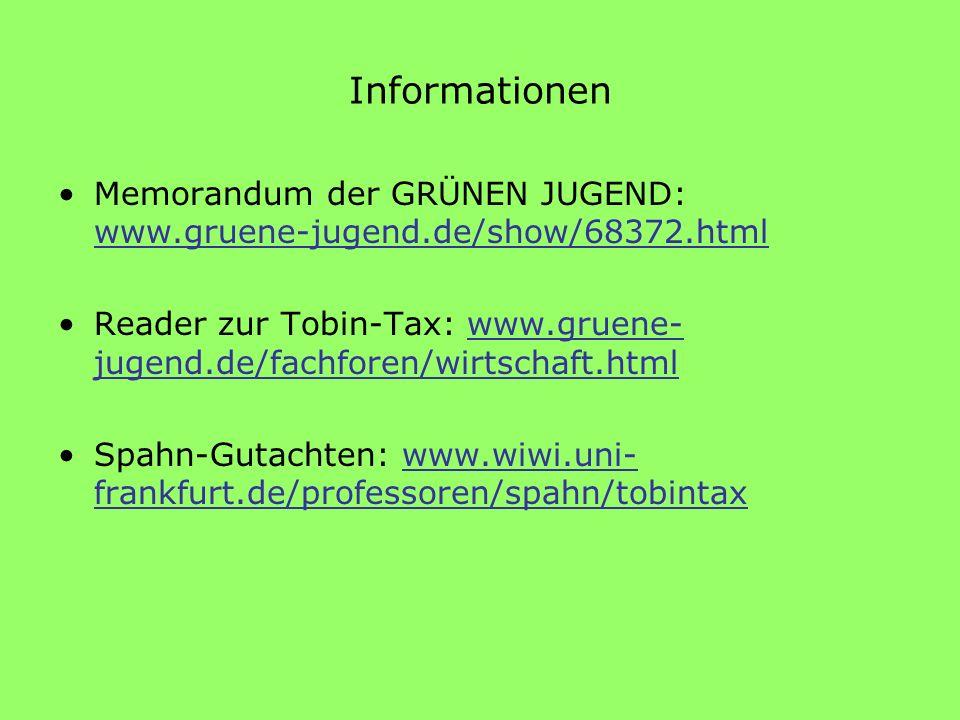 Informationen Memorandum der GRÜNEN JUGEND: www.gruene-jugend.de/show/68372.html Reader zur Tobin-Tax: www.gruene- jugend.de/fachforen/wirtschaft.html