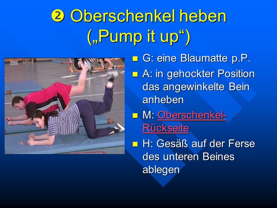 Oberschenkel heben (Pump it up) Oberschenkel heben (Pump it up) G: eine Blaumatte p.P. A: in gehockter Position das angewinkelte Bein anheben M: Obers