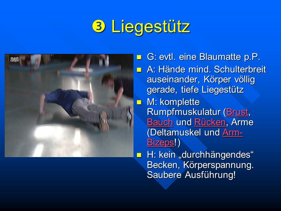 Liegestütz Liegestütz G: evtl. eine Blaumatte p.P. A: Hände mind. Schulterbreit auseinander, Körper völlig gerade, tiefe Liegestütz M: komplette Rumpf