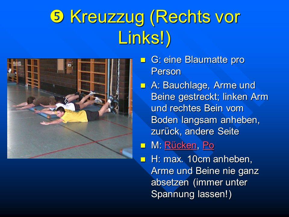 Kreuzzug (Rechts vor Links!) Kreuzzug (Rechts vor Links!) G: eine Blaumatte pro Person A: Bauchlage, Arme und Beine gestreckt; linken Arm und rechtes
