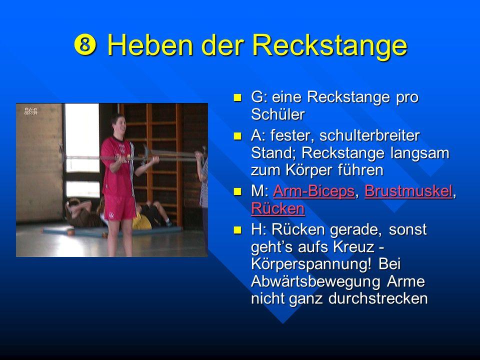 Heben der Reckstange Heben der Reckstange G: eine Reckstange pro Schüler A: fester, schulterbreiter Stand; Reckstange langsam zum Körper führen M: Arm