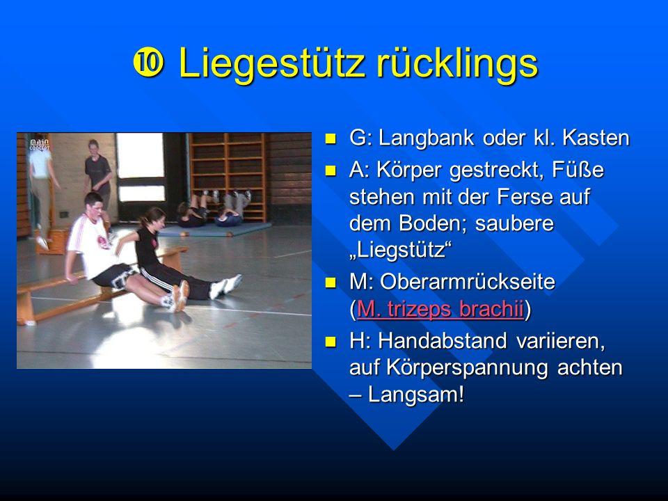 Liegestütz rücklings Liegestütz rücklings G: Langbank oder kl. Kasten A: Körper gestreckt, Füße stehen mit der Ferse auf dem Boden; saubere Liegstütz