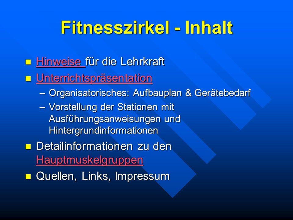 Fitnesszirkel - Inhalt Hinweise für die Lehrkraft Hinweise für die Lehrkraft Hinweise Unterrichtspräsentation Unterrichtspräsentation Unterrichtspräse