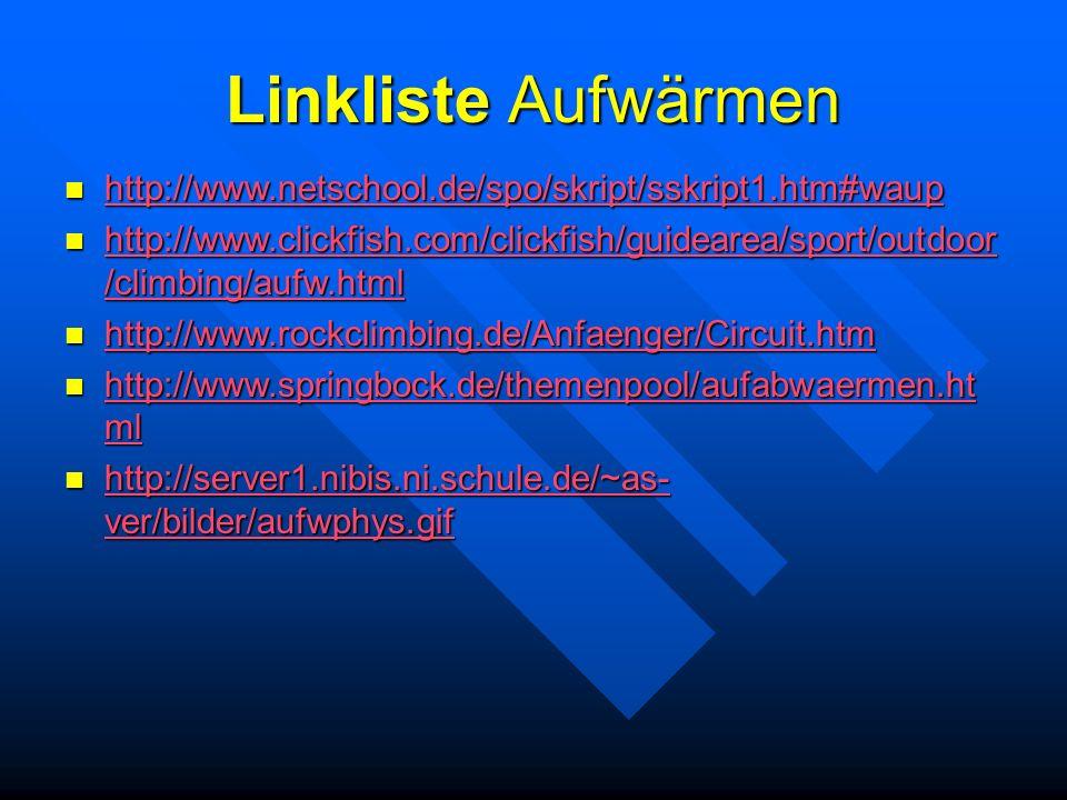 Linkliste Aufwärmen http://www.netschool.de/spo/skript/sskript1.htm#waup http://www.netschool.de/spo/skript/sskript1.htm#waup http://www.netschool.de/