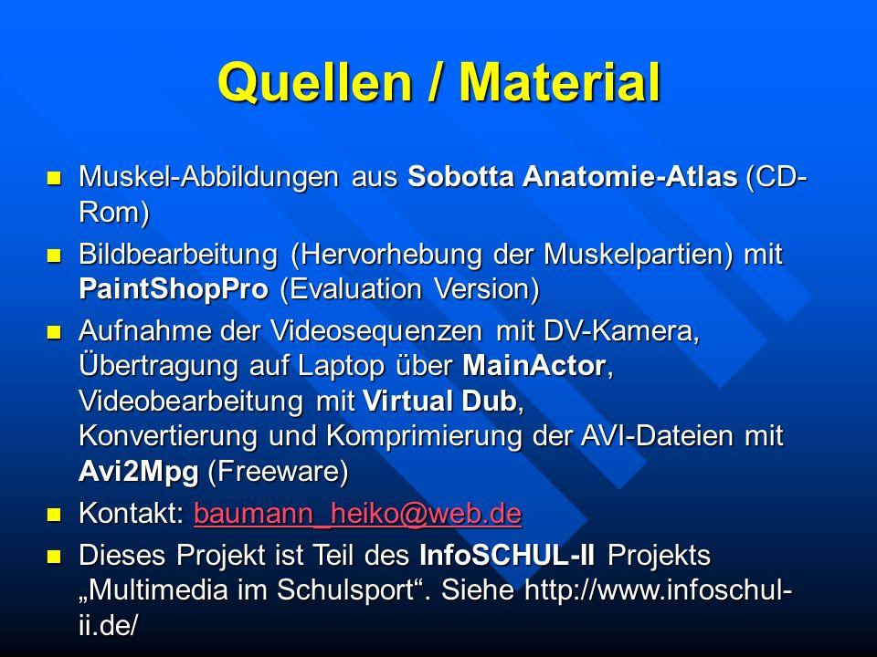 Quellen / Material Muskel-Abbildungen aus Sobotta Anatomie-Atlas (CD- Rom) Muskel-Abbildungen aus Sobotta Anatomie-Atlas (CD- Rom) Bildbearbeitung (He
