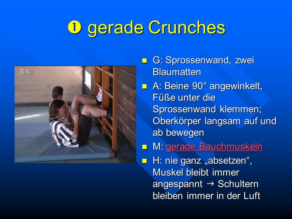 gerade Crunches gerade Crunches G: Sprossenwand, zwei Blaumatten A: Beine 90° angewinkelt, Füße unter die Sprossenwand klemmen; Oberkörper langsam auf
