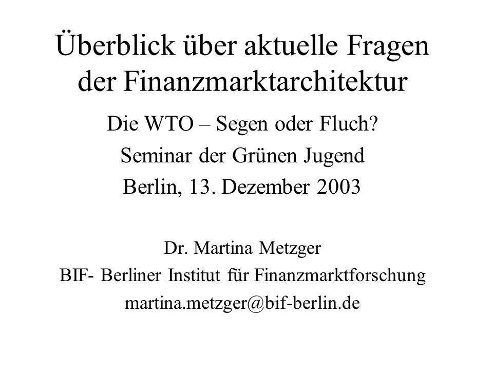 Reform des IWF Inhalt: Diskussion um Existenz, Aufgaben, Instrumente des IWF Zielgruppe: BWI Ziel: Reform oder ersatzlose Abschaffung Stand: Meltzer-Report (2000); Independent Evaluation Office (2001), Focus on the Global South (2002), Oxfam (2003)