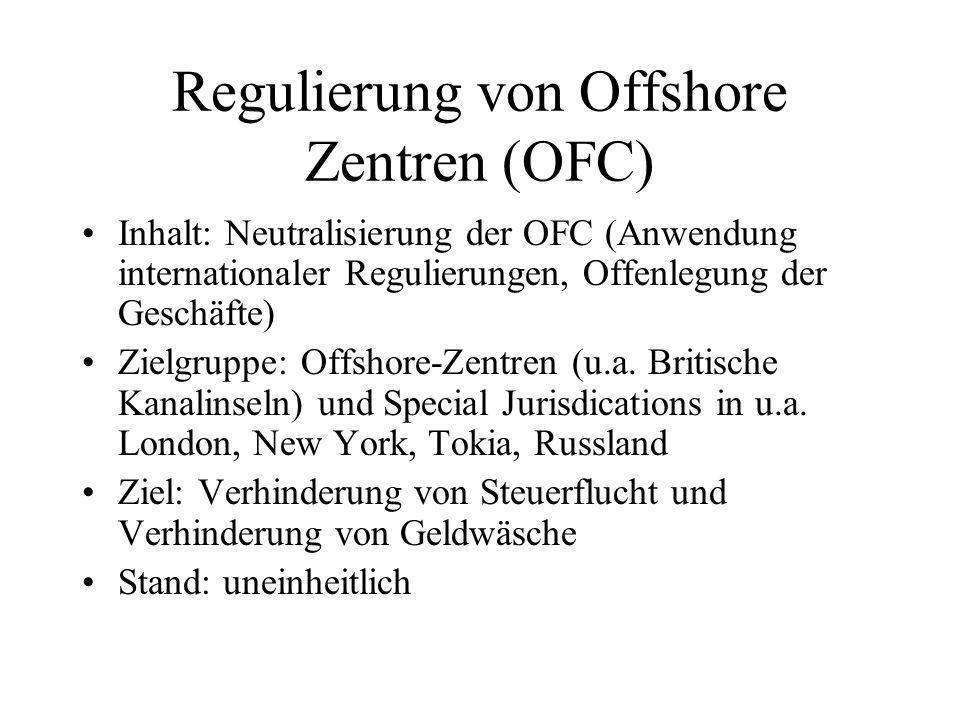 Regulierung von Offshore Zentren (OFC) Inhalt: Neutralisierung der OFC (Anwendung internationaler Regulierungen, Offenlegung der Geschäfte) Zielgruppe: Offshore-Zentren (u.a.