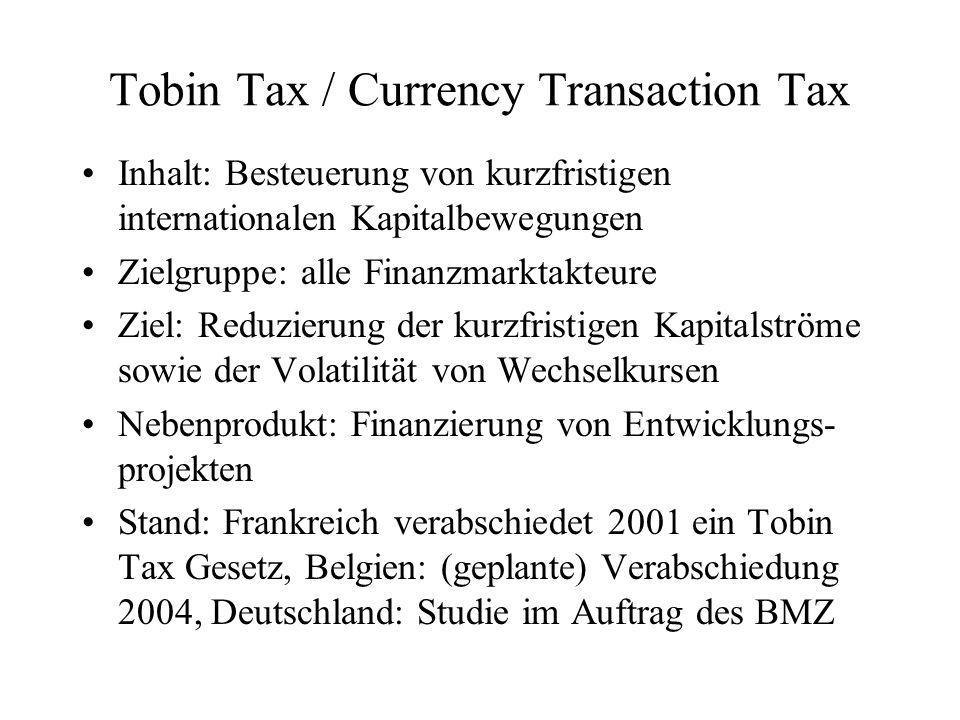 Tobin Tax / Currency Transaction Tax Inhalt: Besteuerung von kurzfristigen internationalen Kapitalbewegungen Zielgruppe: alle Finanzmarktakteure Ziel: Reduzierung der kurzfristigen Kapitalströme sowie der Volatilität von Wechselkursen Nebenprodukt: Finanzierung von Entwicklungs- projekten Stand: Frankreich verabschiedet 2001 ein Tobin Tax Gesetz, Belgien: (geplante) Verabschiedung 2004, Deutschland: Studie im Auftrag des BMZ