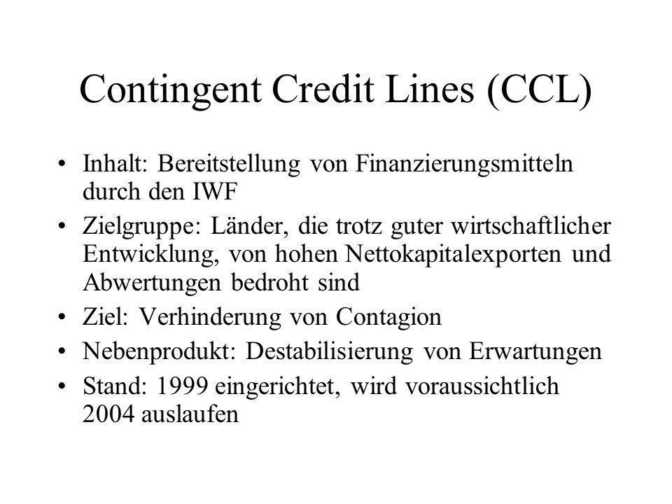 Contingent Credit Lines (CCL) Inhalt: Bereitstellung von Finanzierungsmitteln durch den IWF Zielgruppe: Länder, die trotz guter wirtschaftlicher Entwicklung, von hohen Nettokapitalexporten und Abwertungen bedroht sind Ziel: Verhinderung von Contagion Nebenprodukt: Destabilisierung von Erwartungen Stand: 1999 eingerichtet, wird voraussichtlich 2004 auslaufen