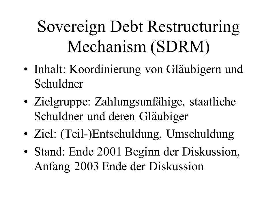 Sovereign Debt Restructuring Mechanism (SDRM) Inhalt: Koordinierung von Gläubigern und Schuldner Zielgruppe: Zahlungsunfähige, staatliche Schuldner und deren Gläubiger Ziel: (Teil-)Entschuldung, Umschuldung Stand: Ende 2001 Beginn der Diskussion, Anfang 2003 Ende der Diskussion