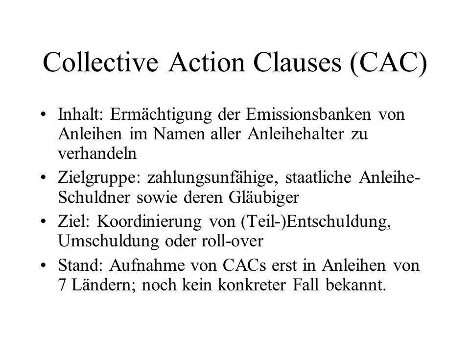 Collective Action Clauses (CAC) Inhalt: Ermächtigung der Emissionsbanken von Anleihen im Namen aller Anleihehalter zu verhandeln Zielgruppe: zahlungsunfähige, staatliche Anleihe- Schuldner sowie deren Gläubiger Ziel: Koordinierung von (Teil-)Entschuldung, Umschuldung oder roll-over Stand: Aufnahme von CACs erst in Anleihen von 7 Ländern; noch kein konkreter Fall bekannt.