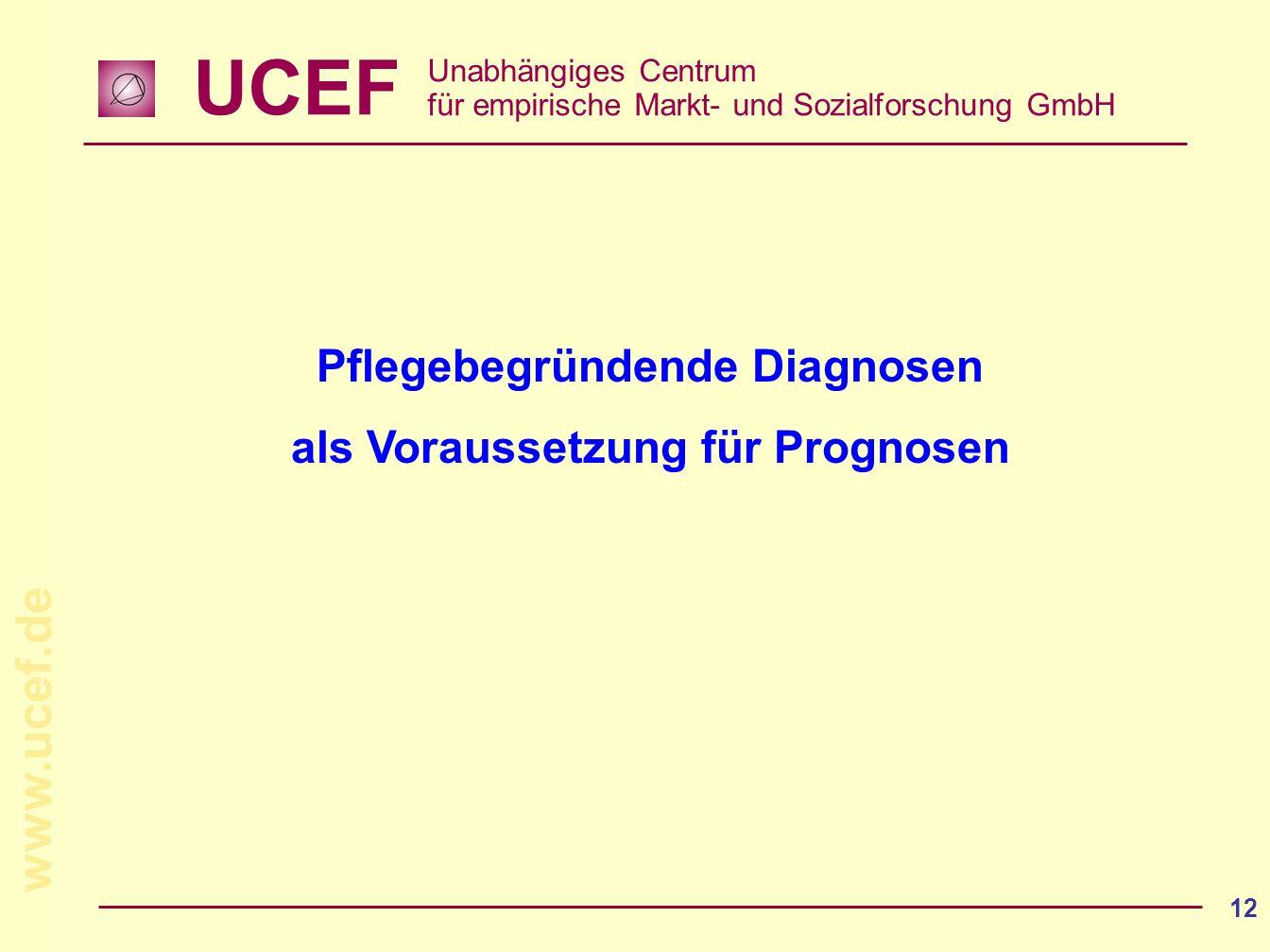 UCEF Unabhängiges Centrum für empirische Markt- und Sozialforschung GmbH www.ucef.de 12 Pflegebegründende Diagnosen als Voraussetzung für Prognosen