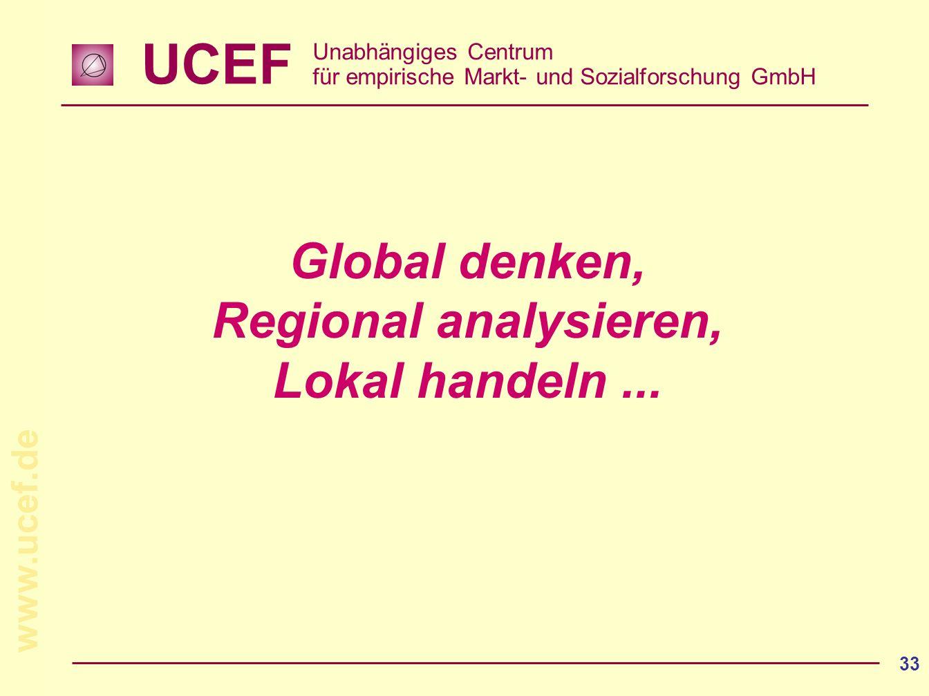 UCEF Unabhängiges Centrum für empirische Markt- und Sozialforschung GmbH www.ucef.de 33 Global denken, Regional analysieren, Lokal handeln...