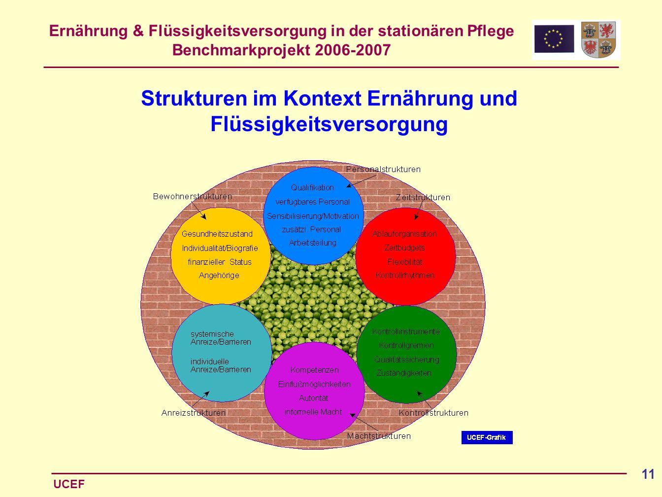 Ernährung & Flüssigkeitsversorgung in der stationären Pflege Benchmarkprojekt 2006-2007 UCEF 11 Strukturen im Kontext Ernährung und Flüssigkeitsversor