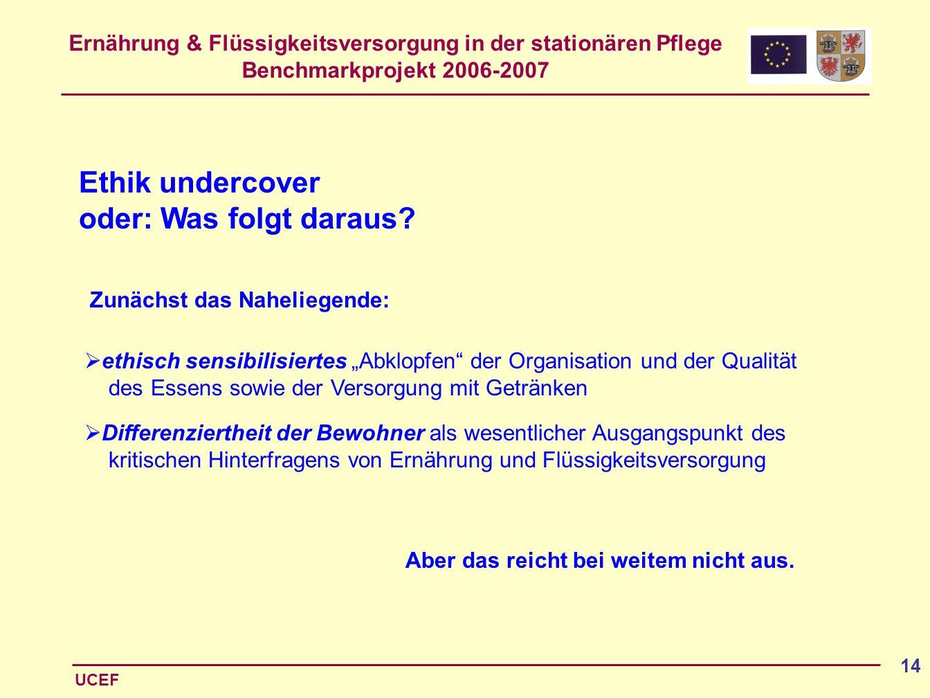 Ernährung & Flüssigkeitsversorgung in der stationären Pflege Benchmarkprojekt 2006-2007 UCEF 14 Ethik undercover oder: Was folgt daraus? ethisch sensi