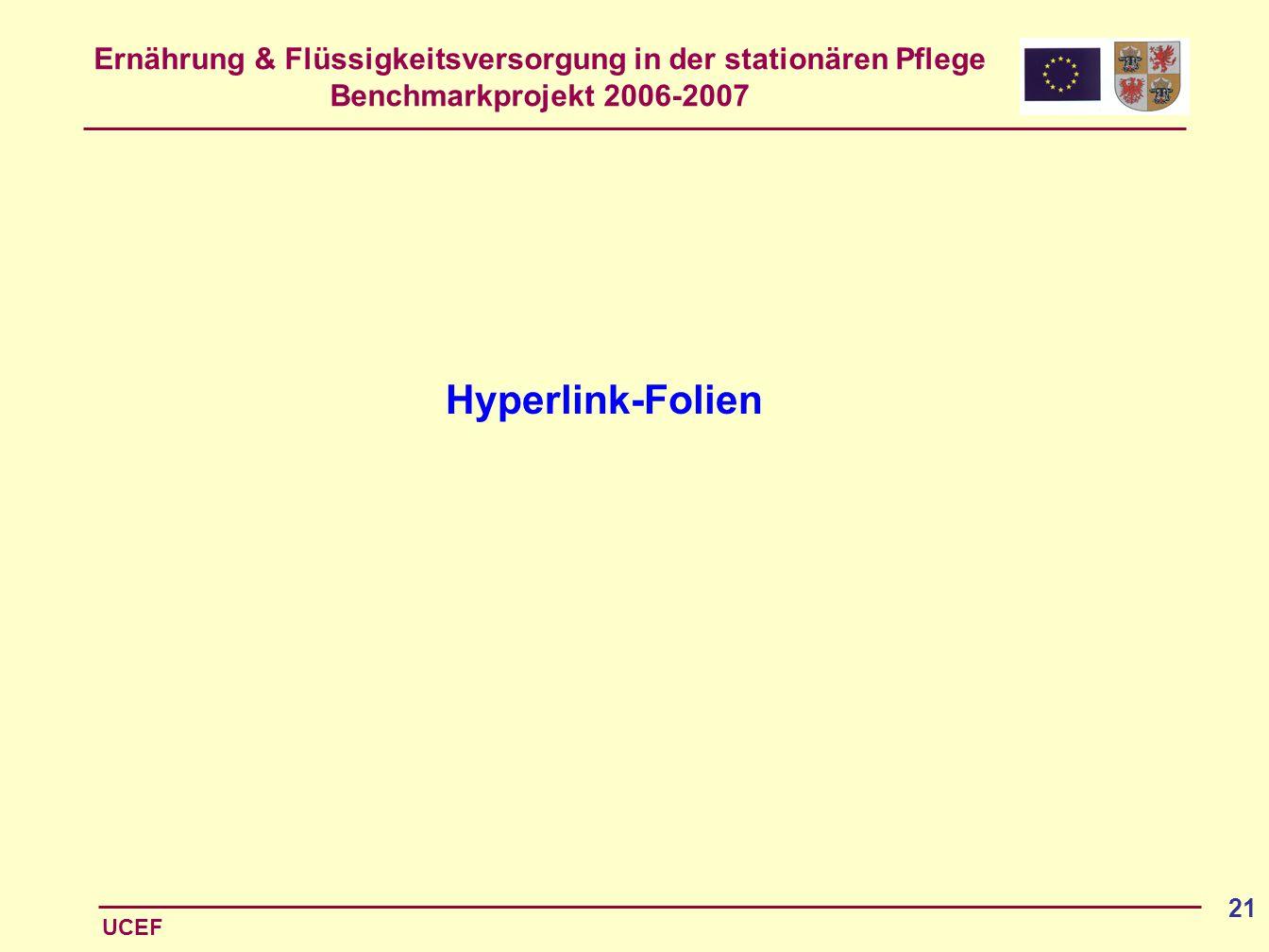 Ernährung & Flüssigkeitsversorgung in der stationären Pflege Benchmarkprojekt 2006-2007 UCEF 21 Hyperlink-Folien